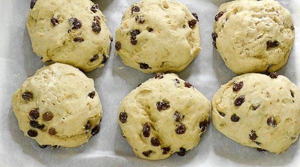 Gluten free hot cross buns proving