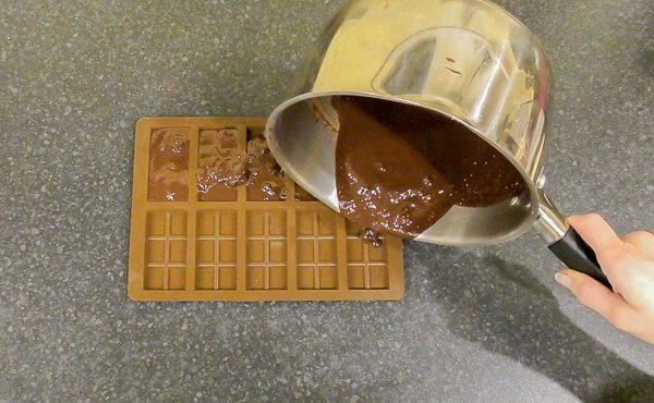 pouring melted chocolate