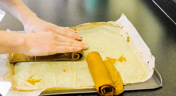 rolling gluten free tomato wraps