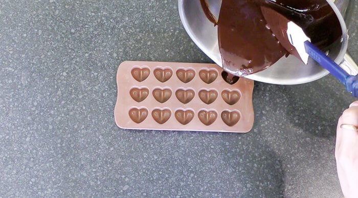 pouring chocolate mould