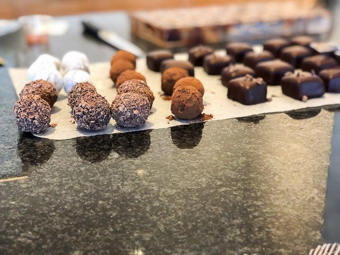 decorated truffles Bettys chocolate making class