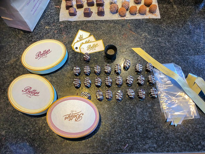 chocolate packaging Bettys Harrogate course