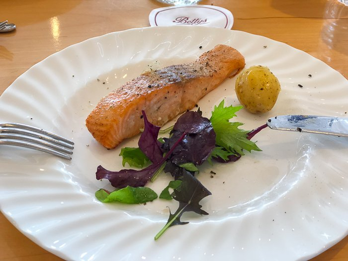 Bettys chocolate course gluten free salmon lunch