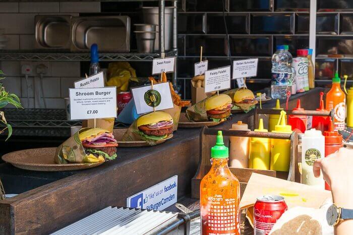 Vburger food stall Camden Market review